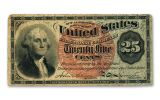 1863 Washington Fractional 25 Cents Currency Note F-VF