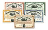 1876–1897 Northern Pacific Railroad 5-Piece Paper Stock Set