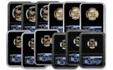 2019-W Gold American Eagle 12-Piece Set NGC PF70UC First Day of Issue - Black Core, Jones/Mercanti/Moy Signed Labels, Washington D.C.