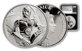 2017 Niue 2 Dollar 1-oz Silver Star Wars Classic C-3PO NGC PF70UCAM First Releases - Black