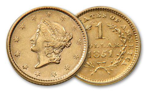 1849-1854 1 Dollar Gold Liberty XF