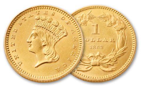 1856-1889 1 Dollar Gold Indian Type III Uncirculated