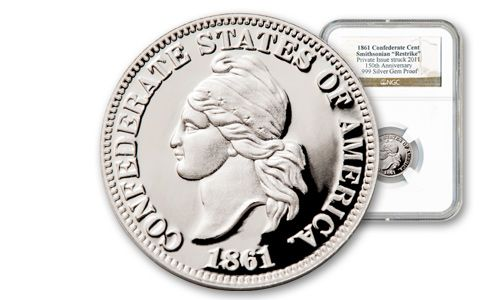 1861 Silver Confederate Cent NGC Gem Proof