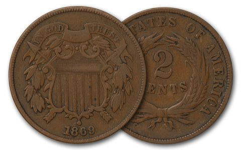 1864-1872 2 Cent Pieces VG-F