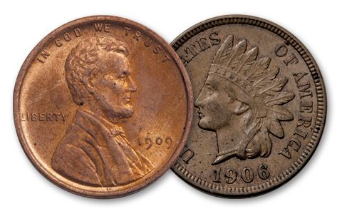 1864-1909 1 Cent Indian-Lincoln BU Set 2 Pieces