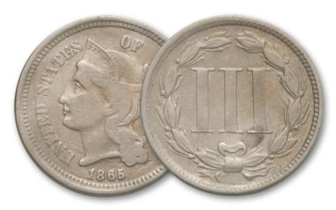 1865 Three Cent Nickel Fine Condition