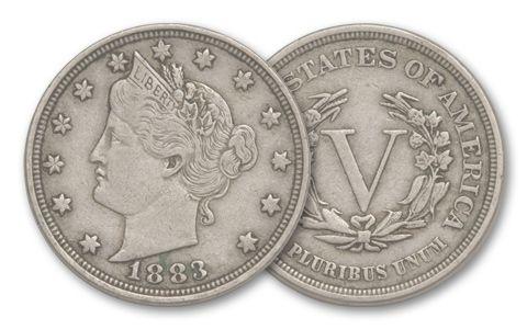 1883 5 Cent Liberty Head VF-XF No Cent