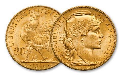 1899-1914 France 20 Francs Rooster BU
