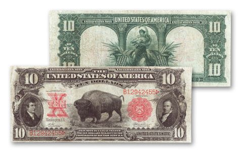 1901 10 Dollar Legal Tender Bison Currency Note Fine