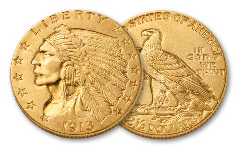 1908-1929 Two and a Half Dollar Indian XF