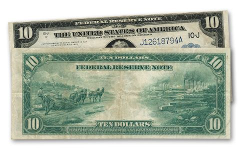 1914 10 Dollar Federal Reserve Note Industry Fine