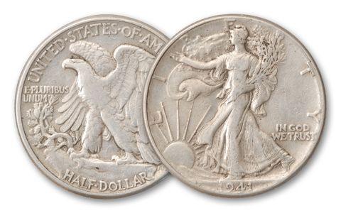 1916-1947 Half Dollar Walking Liberty XF Half Roll