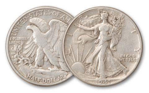 1916-1947 Half Dollar Walking Liberty XF Roll 20 Pieces