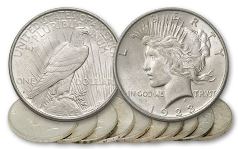 1921-1935 Peace Dollar Collection AU 10 Pieces