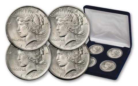 1922-1925 Peace Dollar Collection BU - 4 pieces