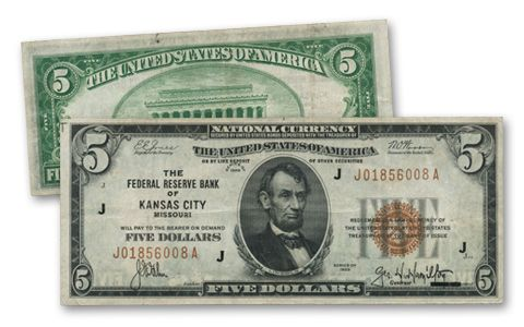 1929 5 Dollar Federal Reserve Bank Note Fine