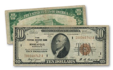1929 10 Dollar Federal Reserve Bank Note Fine