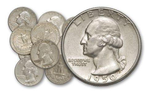 1932-1964 25 Cent Washington 10 Pieces