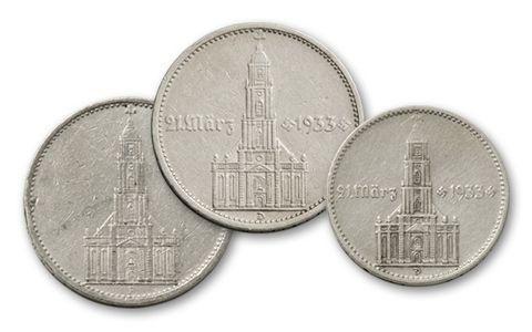 1934-1935 Germany 2 and 5  Reichsmark Potsdam Church