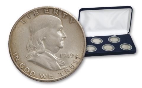 1949-1954-S 50 Cent Silver Franklin-5 Piece Set