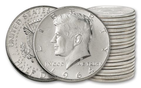 1964 50 Cent Kennedy BU - 20 Pieces (Full Roll)