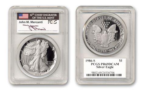 1986-S $1 1-oz Silver Eagle PCGS PR69DCAM Mercanti Signed