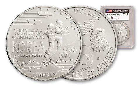 1991-D 1 Dollar Korean War Memorial Silver PCGS MS69 Mercanti