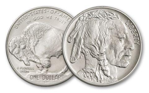 2001-D 1-oz 1 Dollar Silver Buffalo BU