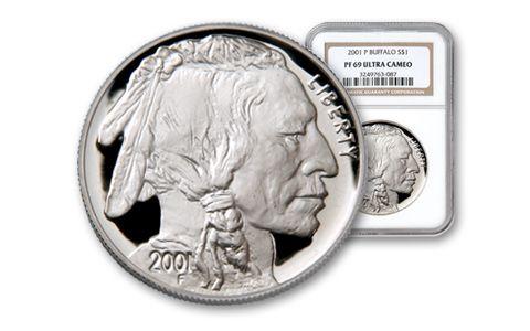 2001-P 1 Dollar Silver Buffalo PCGS NGC PR69
