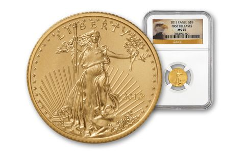 2013 5 Dollar 1/10 Oz Gold Eagle NGC MS70 First Release