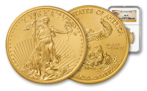 2014 $50 1-oz Gold Eagle MS70