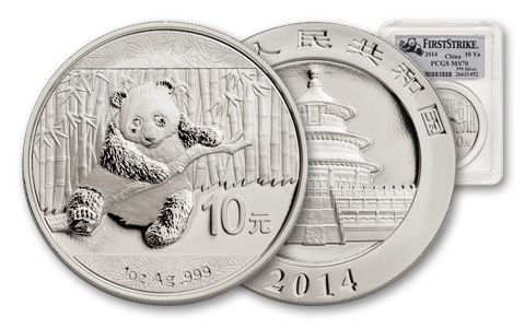 2014 China 1-oz Silver Panda First Strike PCGS MS70