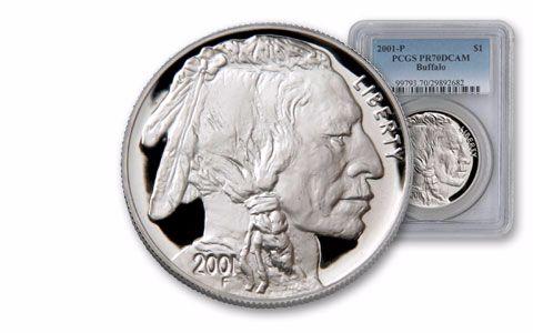 2001 1 Dollar Silver Buffalo PCGS PR70