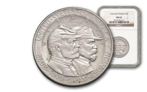 1936-P Half Dollar Silver Battle of Gettysburg NGC/PCGS MS65