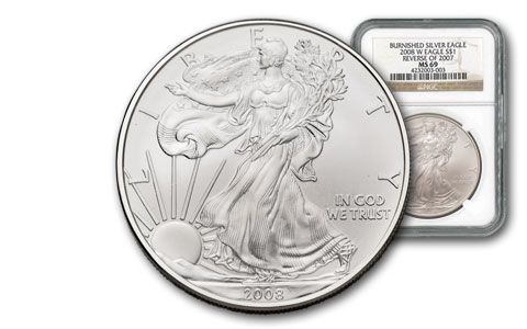 2008-W 1 Dollar 1-oz Silver Eagle NGC MS69 - Reverse of 2007