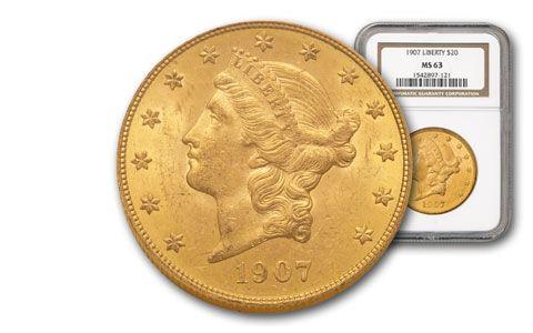 1907-P 20 Dollar Liberty PCGS/NGC MS63