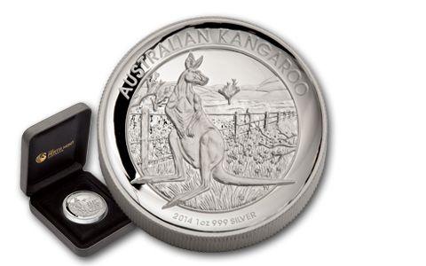 2014 Australia 1-oz Silver High Relief Kangaroo Proof