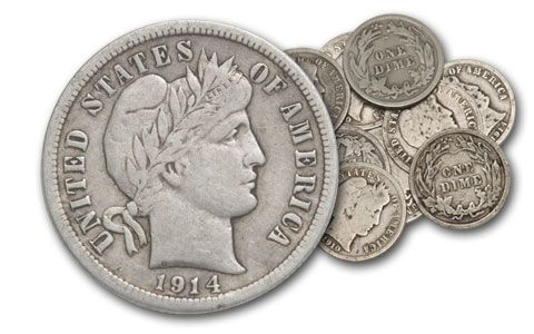 1892-1916 10 Cent Barber Silver G-VF 10pc