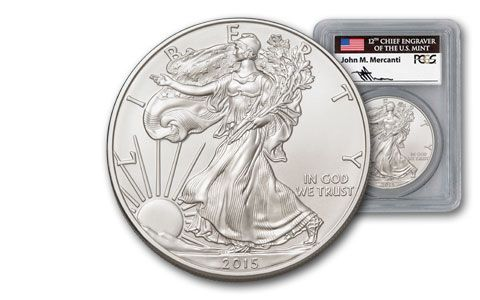 2015 U.S. Silver Eagle Mercanti PCGS MS70 First Strike