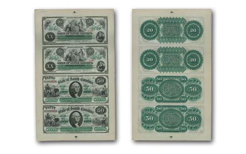 1872 South Carolina 20 and 50 Dollar E.B. Wesley Uncut Notes PMG MS67 EPQ - 4-Note Sheet