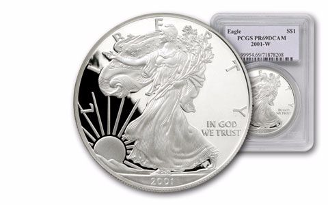 2001-W 1 Dollar 1-oz Silver Eagle NGC/PCGS Proof 69