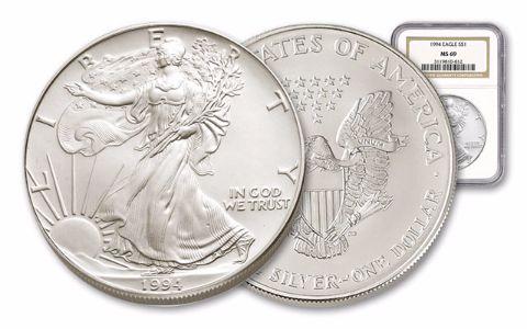 1994 1 Dollar 1-oz Silver Eagle NGC/PCGS MS69