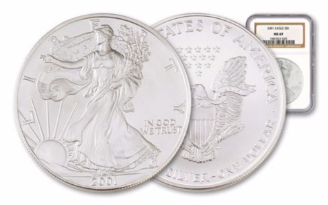 2001 1 Dollar 1-oz Silver Eagle NGC/PCGS MS69