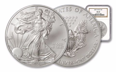 2007 1 Dollar 1-oz Silver Eagle NGC/PCGS MS69