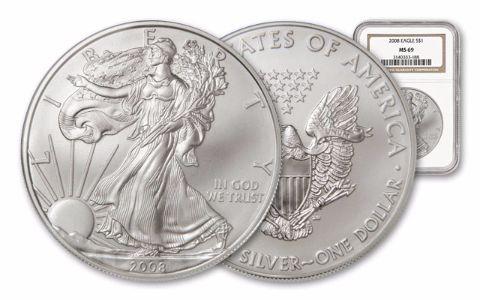 2008 1 Dollar 1-oz Silver Eagle NGC/PCGS MS69