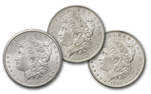 1883-1885-O Morgan Silver Dollar Great Montana Collection NGC MS64 3 Piece Set