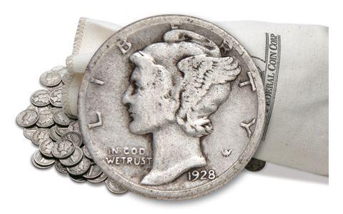 1916-1945 Silver Mercury Dimes VG-VF 5 Pound Bag