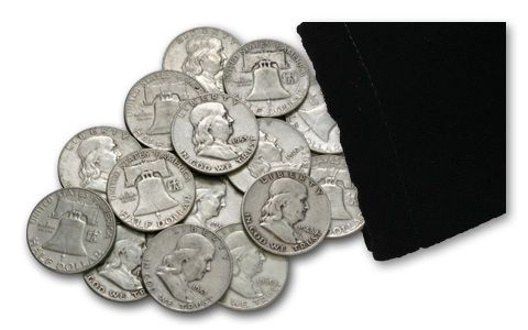 1948-1963 Silver Franklin Half Dollar F-AU 1/3 Pound Bag