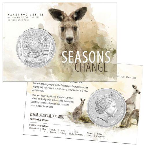 2016 Australia 1-oz Silver Kangaroo Seasons Change