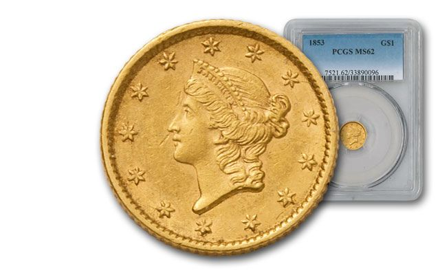 1849-1854 1 Dollar Gold Liberty Type I NGC/PCGS MS62
